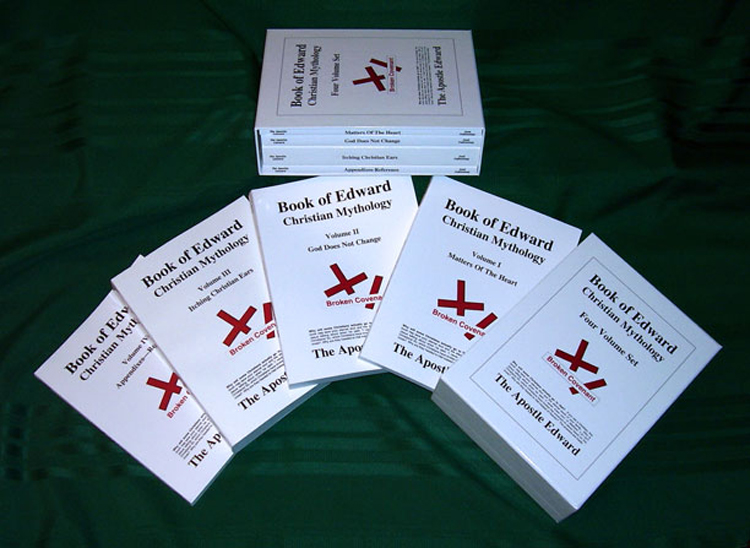 <Photo image of Apostle Edward's BOOK OF EDWARD showing all four volumes and the slipcase to hold them.>